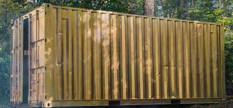 A gold outdoor portal container